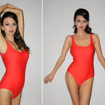 Vintage 90s BAYWATCH One Piece Bathing Suit / Tomato Red Matte / HARD CUPS, Pinup Swimsuit / Basic Swimwear / Lifeguard / by Gottex / Small