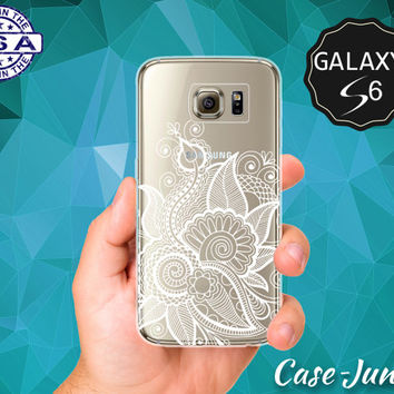 White Floral Henna Flower Pattern Ornate Design Tattoo Tumblr Case for Clear Rubber Samsung Galaxy S6 and Samsung Galaxy S6 Edge Clear Cover
