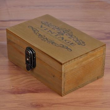 Home Decor Vintage Wooden Jewelry Storage Box Home Lock [6282701574]
