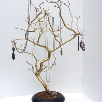 Jewelry Holder Tree Gold Organizer Bonsai painted necklace holder branch bedroom decor for her