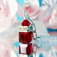 Red Crystal iPhone Charm Dust Plug Charm Cell Phone Bling