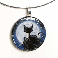 Black Cat Pendant Necklace Hand Painted Moon by rainbowofcrazy