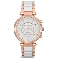 Parker Rose Gold-Tone White Acetate Watch | Michael Kors