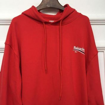 ONETOW balenciaga long sleeve hedging pullover sweater hoodies red 3