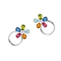 Flower earclips small white gold 5-leave blooms | earrings RenéSim