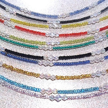 Trending Anklets with Seed Beads & Clear Bi-Cone Accent Beads, Glass Bead BOHO Hippie Stacking Ankle Bracelets, Handmade Plus Size Anklet