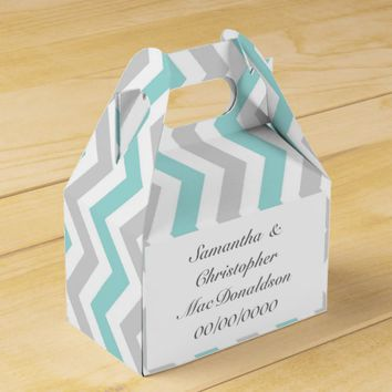 Aqua grey and white chevron wedding favor box