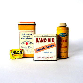 SET of 4 vintage medicine cabinet tin collection - INSTANT COLLECTION - Pharmacy, apothecary, medicine, retro, mid century