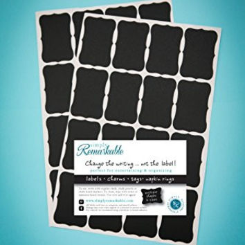 "32 Fancy Rectangle Chalkboard Sticker Labels (2"" X 1.25"") - Chalkboard Stickers for Organizing, Weddings and More"