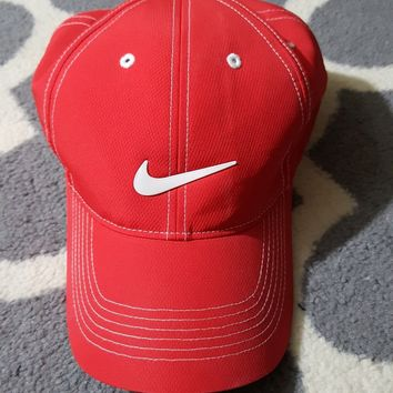 Nike Golf Unisex Adjustable Cap Hat Red white swoosh EUC!