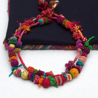 Fiber art statement necklace, colorful beaded ethnic jewelry, hand wrapped with felt and wooden beads, OOAK