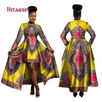 👉🏿(CLICK HERE)African Dresses for Women Dashiki Cotton Wax Print Batik Sexy Long Dress
