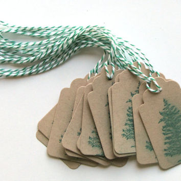 Spruce tree paper gift tags - Kraft Favor Tags - tree Gift tags - tree Party Tags - party favor tags - tags - Brown oatmea - masculine