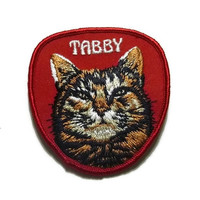 Vintage Tabby Cat Patch Embroidered Sew On Kitty Cat Patch 70's Embroidery Cat Lovers Gift Retro 60s Tabby Cat Embroidered Patch Mid Century