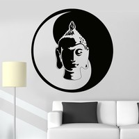 Vinyl Wall Decal Buddha Meditation Yin Yang Zen Buddhism Tao Stickers Unique Gift (021ig)