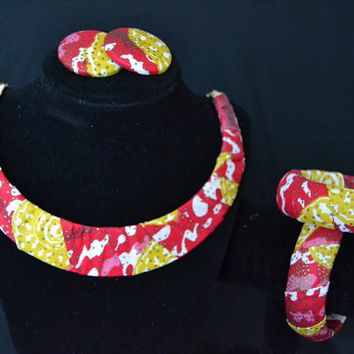 Red, Pink, and Yellow Ankara Earring
