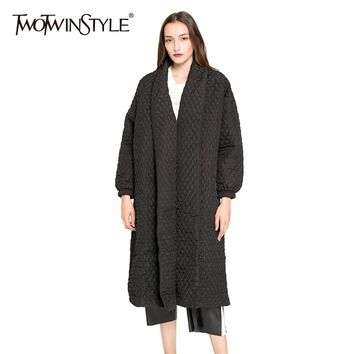 [TWOTWINSTYLE] 2017 Winter black Big Loose Long Casual Trench Coat For Women New Streetwear Clothing