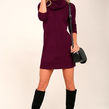 Tea Reader Burgundy Sweater Dress