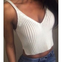 Sexy V-Neck Solid Color Knitted Crop Top For Women   Kitty's Clawset
