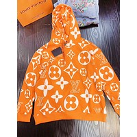 Louis Vuitton LV Fashion New Monogram Print Women Men Hooded Long Sleeve Sweater Top Orange