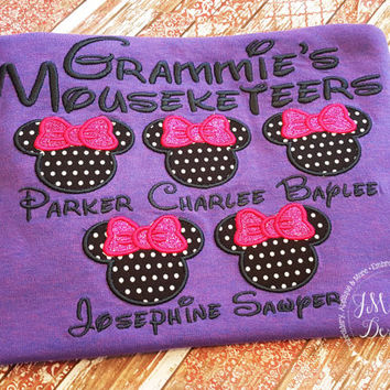 Gorgeous Custom embroidered Disney Mousketeers Shirts for the Family!