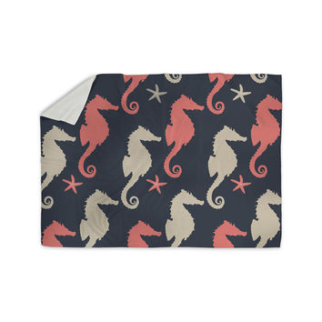 "afe images ""Gray and Coral Seahorses"" Coral Gray Digital Sherpa Blanket"