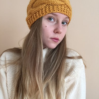 Knit Ear Warmer Headband • Golden Yellow Mustard Yellow • Handknit Wool Blend Yarn • Wide Headband •