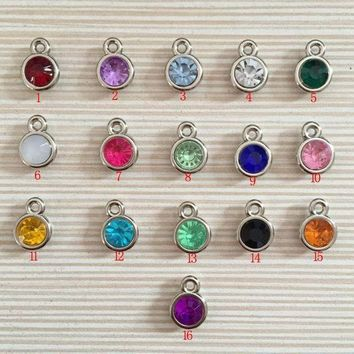 ESBONFI 12pcs/lot mixed Birthstone charms 11mm Acrylic for Diy Personalized Necklace and Bracelet Free shipping