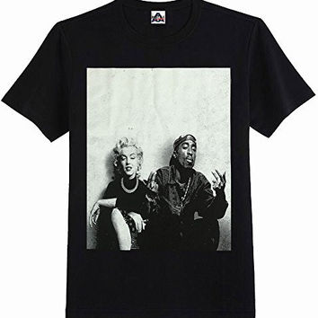 HIP HOP LEGEND GRAPHIC T-SHIRTS TUPAC MARILYN MONROE COUPLE LOGO NEW EDITION M BLACK