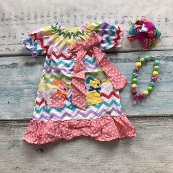 new arrival baby girls 3 bunny chevron dress children Easter party outfits children bunny dress with matching accessories
