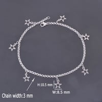 Stainless Steel Anklet with Small Five-pointed Star Charms