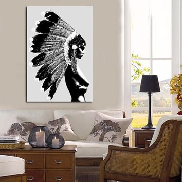 Indians Girl Figure Painting Nordic Poster Wall Art Print Canvas Painting Black White Wall Pictures For Living Room