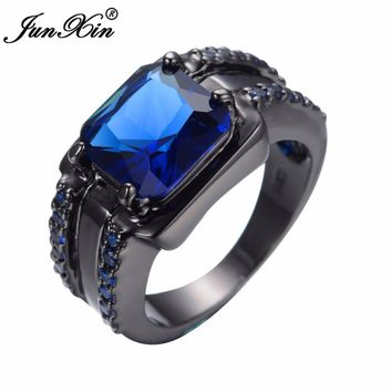 JUNXIN Fashion Male Blue Stone Ring Gorgeous Square Design Zircon Finger Ring Vintage Party Wedding Rings For Men Jewelry Gifts