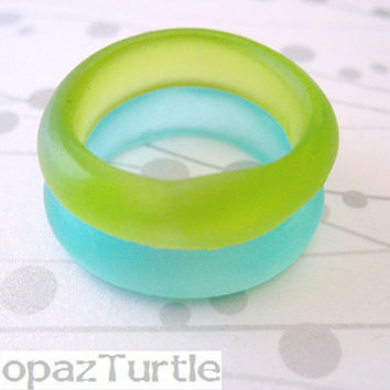 Lime Resin Ring Jewelry , resin , ring , band , Stack Light Green Matte Resin Stacking Ring Set Size 10 Topaz Turtle Australia rings round