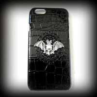 iPhone 6 case-crocodile pattern embossed leather iphone 6 case--gothic phone case-bat iphone case-rhinestone iphone case-black case