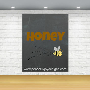 HONEY BEE, 8X10 printable, children's room, instant download, birthing gift, typography art, dorm room