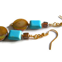 Beadwork Amber Brown Shell Earrings Rustic India Glass Genuine Turquoise Beaded Jewelry
