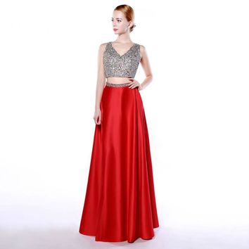 Two piece dresses with Beading Modest Formal Evening Dress Red Long V Neck with Pocket