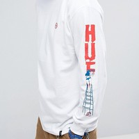 HUF Long Sleeve T-Shirt With Ladder Sleeve Print at asos.com