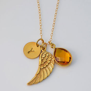 Personalized Angel Wing Natural Birthstone 14K gold filled necklace - Pendant Charm, hand stamped initial Remembrance memory necklace