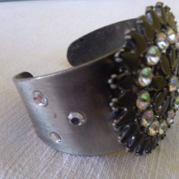 SALE! Vintage Rhinestone Bangle, Silvertone Metal Bracelet with Black and Clear Rhinestones unique wide Cuff