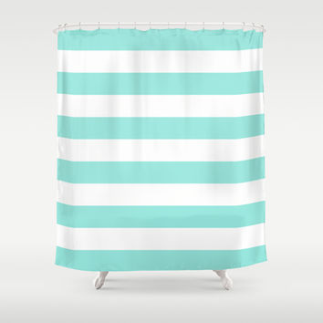 Stripe tiffany blue bold horizontal shower curtain by beautiful homes