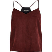River Island Womens Dark red faux suede cami