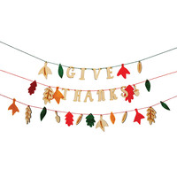 Give Thanks Wood and Felt Thanksgiving Banner