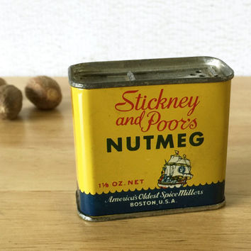 Stickney and Poors Nutmeg Spice Tin / Food Tin Can / Primitive Rustic Kitchen Decor / General Country Store / Vintage Advertising