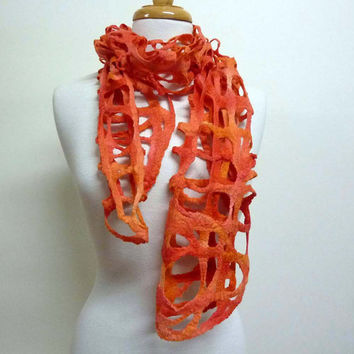 Handmade Womens Wool Scarf - Australia- Orange Wool Felt Scarves