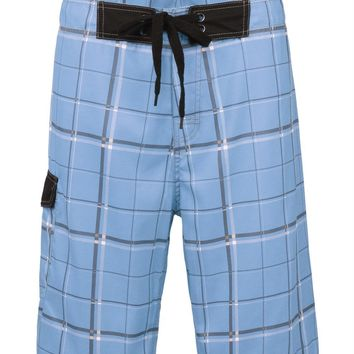 Nonwe Men's Beachwear Swim Trunks Quick Dry Plaid Pattern with Lining