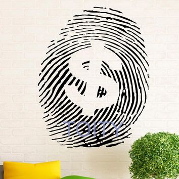 Money Sign Wall Decal Vinyl Stickers Dollar Fingerprint Bank Notes Home Interior Design Art Murals Bedroom Decor H71cm x W57cm