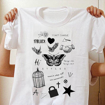 Tatto Harry Styles one direction Tshirt