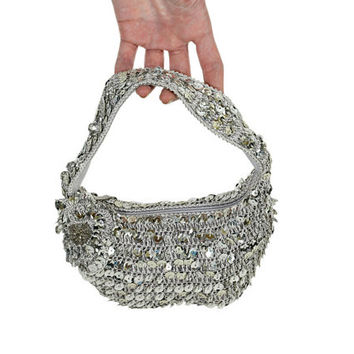 Silver Sequin Bag - Small Vintage Crochet Purse